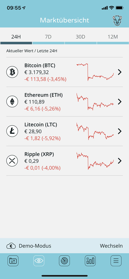 Marktübersicht menue Bison App für IOS