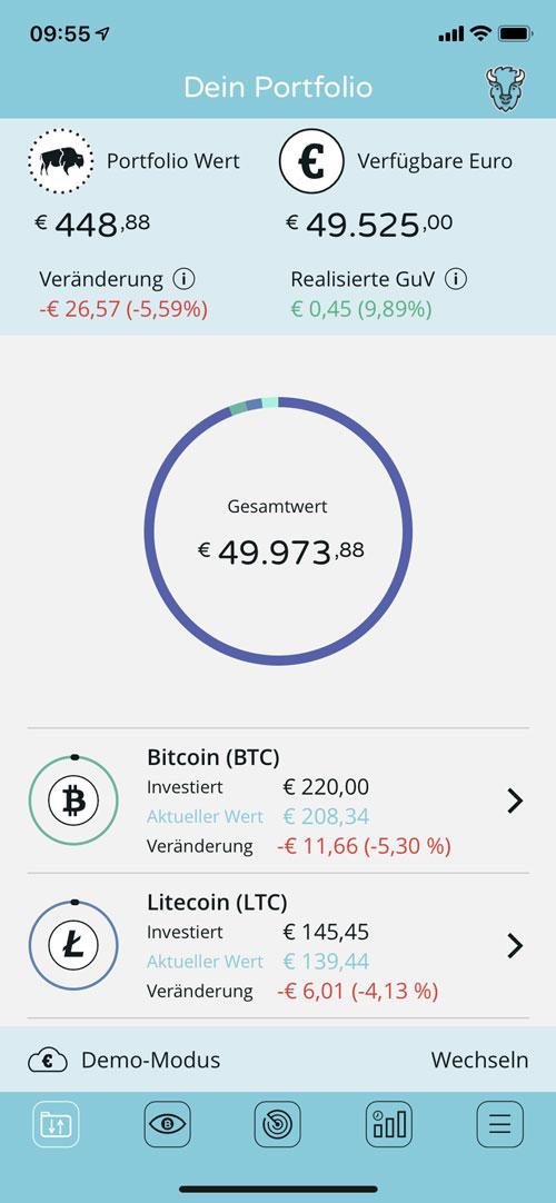Hauptmenue der Bison App für Kryptohandel